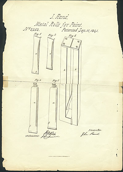[John Goffe Rand patent, Improvement in the Construction of Vessels or Apparatus for Preserving Paint, & c.]