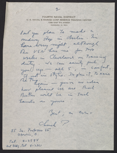 [Charles Parkhurst letter to Perry Rathbone]