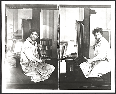Abraham Rattner in his Paris studio