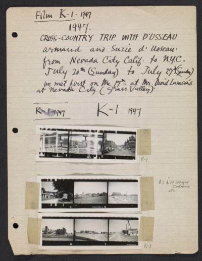 [Abraham Rattner cross country travel photographs]