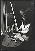 Esther Gentle and Abraham Rattner in Gentles studio