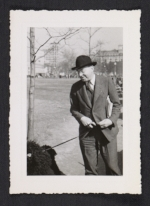 John Dos Passos in New York with a dog