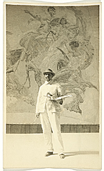 Robert Reid holding a palette and a brush
