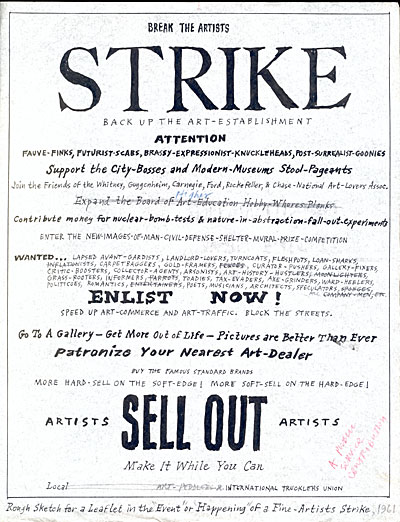 Satirical sketch for an artist strike