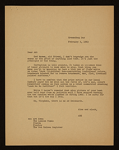 [Abe Ajay letter to Ad Reinhardt]