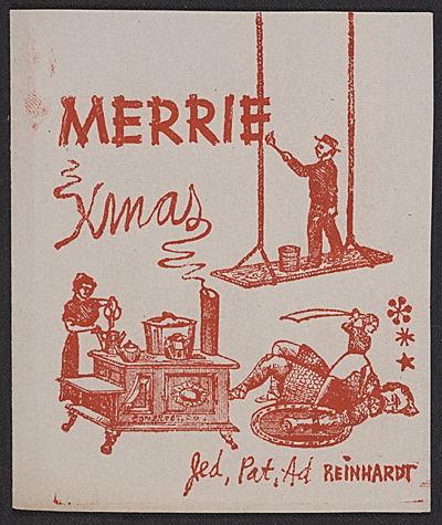 Ad Reinhardt Christmas card to unidentified recipient