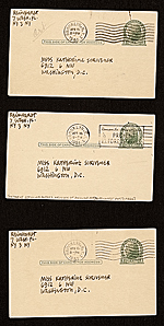 [Ad Reinhardt, New York, N.Y. postcards to Katherine Scrivener, Washington, D.C. verso 1]