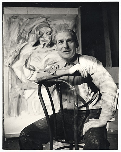 [Willem de Kooning with his work]