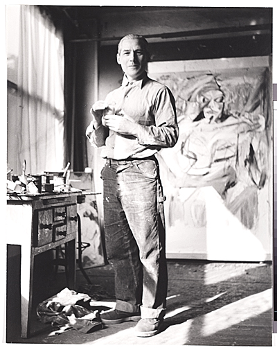 [Willem de Kooning at work in his studio]