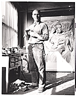 Willem de Kooning at work in his studio