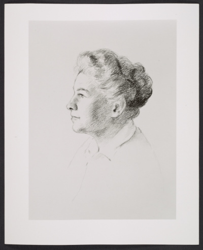 Reproduction of Alison Farmer drawing titled Constance