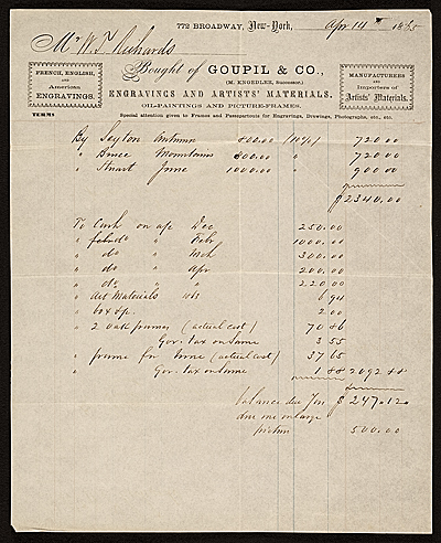 [Receipt for items purchased by William Trost Richards]