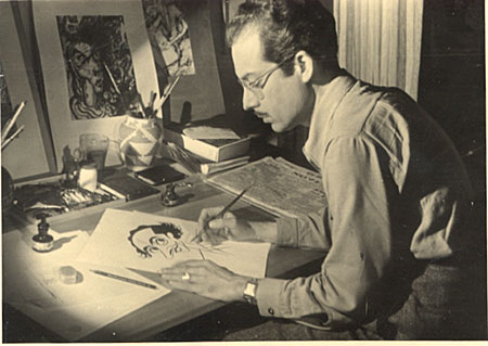 [Enrique Riverón at work on a caricature of Leo Matiz]