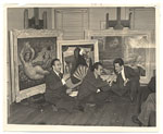 Enrique Riverón, Mario Carreño and A. Gattorno sitting in front of paintings