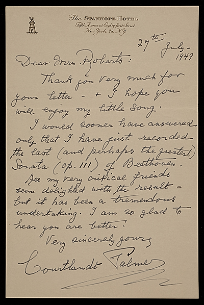 [Courtlandt Palmer, New York, N.Y. letter to Mary Fanton Roberts]