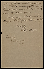 [Ethel May Klink Myers, Carmel, N.Y. letter to Mary Fanton Roberts 3]