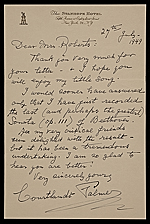 Courtlandt Palmer, New York, N.Y. letter to Mary Fanton Roberts