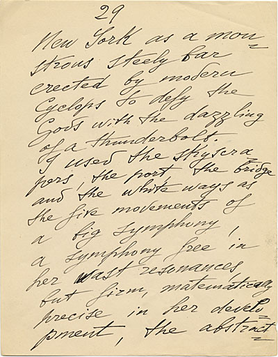 Page of a manuscript believed to have been written by Joseph Stella