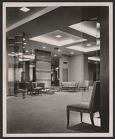 [Neiman Marcus coat salon designed by T.H. Robsjohn-Gibbings]