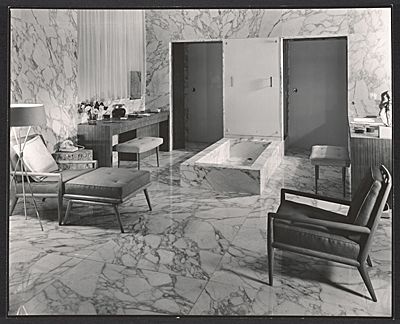 [A bathroom designed by T.H. Robsjohn-Gibbings]