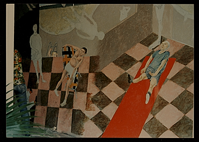 [Detail of Arturo Rodríguez's mural The Great Theater of the World]