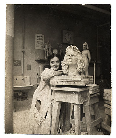 Esther Rolick with self-portrait bust