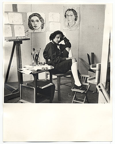 [Esther Rolick in her studio at the Huntington Hartford Foundation.]