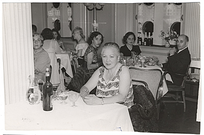 Esther G. Rolick at the Captain's Dinner aboard the SS Saturia.