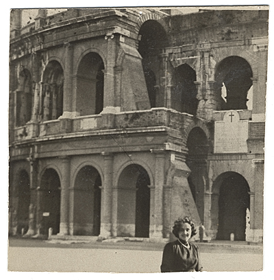 Esther G. Rolick at the Coliseum, Rome, Italy.  Her first trip to Europe.