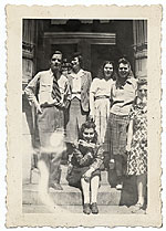 Esther Rolick and group on front stoop