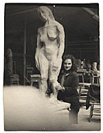 Esther Rolick with sculpture