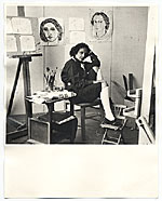 Esther Rolick in her studio at the Huntington Hartford Foundation.