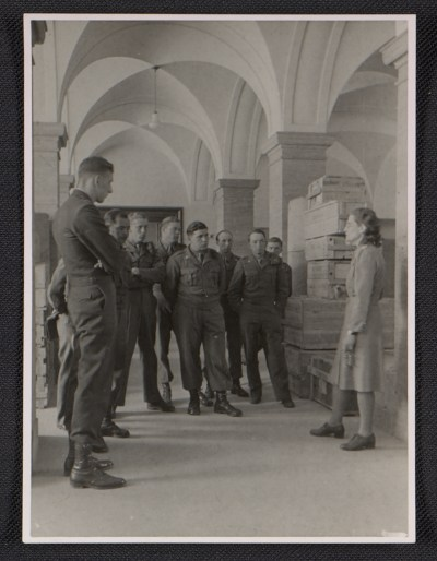Edith Standen conducting a tour for U.S. guards