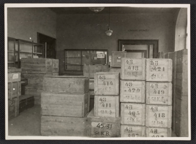 Storage room filled with crates at Wiesbaden Collecting Point