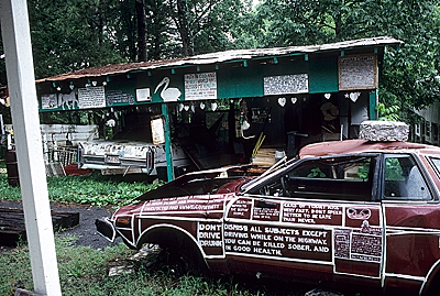 The garage at Paradise Gardens