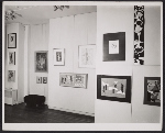 An installation view of the International Collage Exhibition held at the Rose Fried Gallery