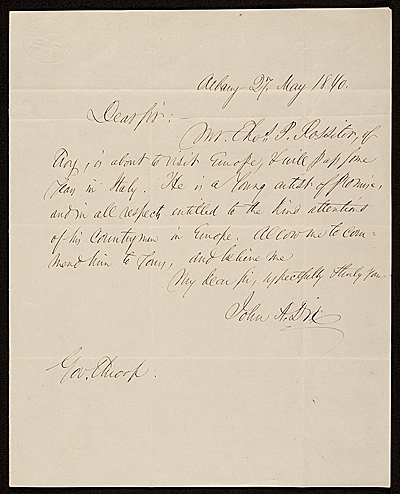 [John A. Dix, Albany, N.Y. letter to Enos Throop]