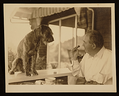 Edward Bruce with a dog