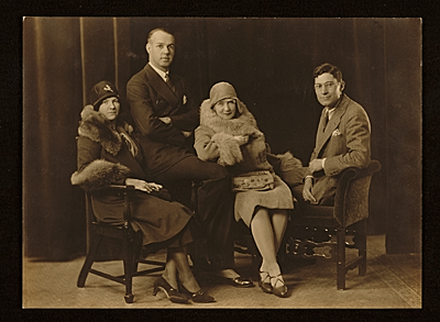 Ruth St. Dennis, Ted Shawn, Edward Rowan and an unidentified woman in a publicity photograph for a reception/dance recital at the Little Gallery