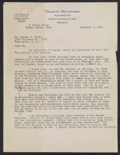 Grant Wood letter to Edward B. Rowan