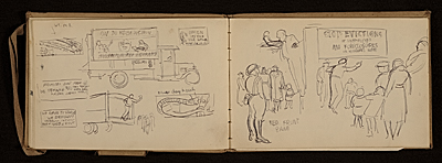 Lewis Rubensteins sketchbook documenting a hunger march to Washington, D.C.