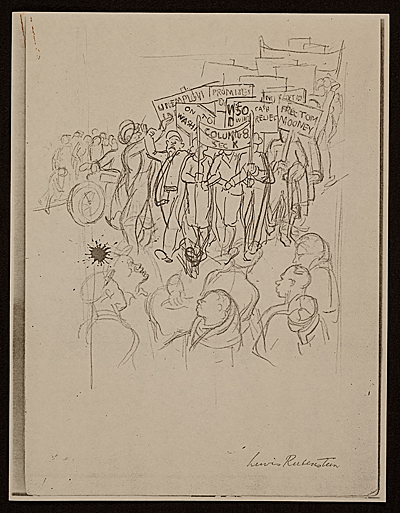 [Lewis W. Rubenstein sketchbook of hunger walk to Washington]