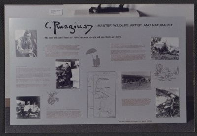 Exhibit introductory panel for C. Rungius: Master wildlife artist and naturalist