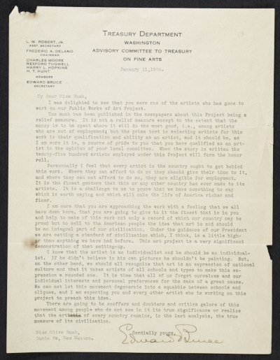 Edward Bruce, Washington, D.C. letter to Olive Rush, Santa Fe, N.M.