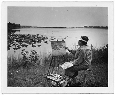 Ethel Leach painting outdoors