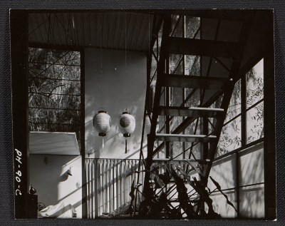 Interior view of the Eames House with staircase