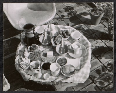 [Table setting at the Eames House]