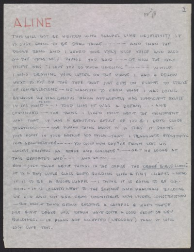 [Eero Saarinen letter to Aline Saarinen]
