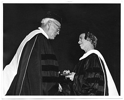 [Aline Saarinen receiving an honorary degree from the University of Michigan]