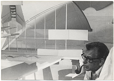 Eero Saarinen with an architectual work